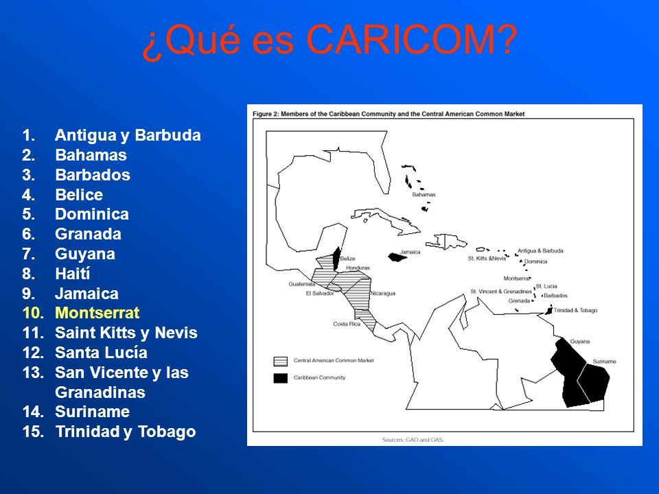 ¿Qué es CARICOM? 1.Antigua y Barbuda 2.Bahamas 3.Barbados 4.Belice 5.Dominica 6.Granada 7.Guyana 8.Haití 9.Jamaica 10.Montserrat 11.Saint Kitts y Nevi