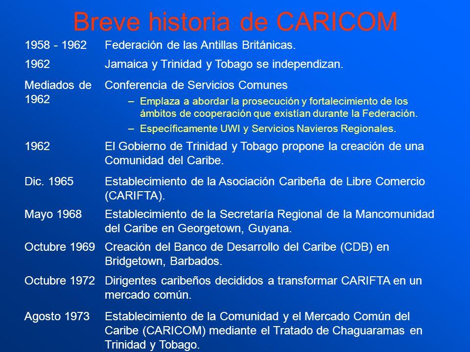 Breve historia de CARICOM 1958 - 1962Federación de las Antillas Británicas. 1962Jamaica y Trinidad y Tobago se independizan. Mediados de 1962 Conferen