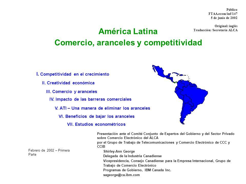 Explora el vínculo entre comercio, aranceles y competitividad ƒSe centra en la Tecnología de Información y América Latina ƒ Combina los datos de diversas fuentes internacionales – Foro Económico Mundial y Universidad de Harvard – Organización Mundial del Comercio (OMC) – Base de datos World Economic Outlook (WEO) del FMI Estudios econométricos: por país ƒBrasil – Federación de Industrias de Río de Janeiro (Firjan) – LCM Consultores Asociados ƒ Argentina – Fundación de Investigaciones Económicas Latinoamericanas (FIEL) América Latina: Comercio, aranceles y competitividad