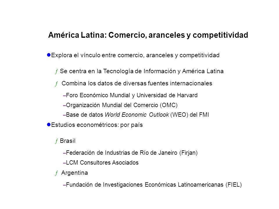 Explora el vínculo entre comercio, aranceles y competitividad ƒSe centra en la Tecnología de Información y América Latina ƒ Combina los datos de diver