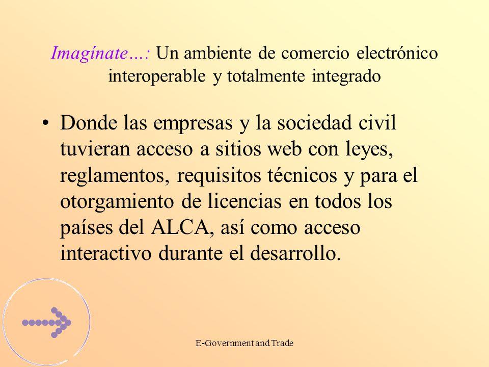 E-Government and Trade Imagínate…: Un ambiente de comercio electrónico interoperable y totalmente integrado Donde las empresas y la sociedad civil tuvieran acceso a sitios web con leyes, reglamentos, requisitos técnicos y para el otorgamiento de licencias en todos los países del ALCA, así como acceso interactivo durante el desarrollo.