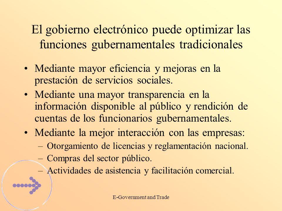 E-Government and Trade El gobierno electrónico puede optimizar las funciones gubernamentales tradicionales Mediante mayor eficiencia y mejoras en la prestación de servicios sociales.