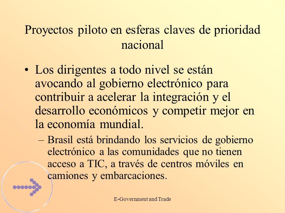 E-Government and Trade Los proyectos piloto en las esferas claves de prioridad nacional crean apoyo México ha instalado un sistema de servicio social http://www.tramitanet.gob.mxhttp://www.tramitanet.gob.mx Chile ha instalado un sistema de aduanas http://www.aduana.cl y un sistema tributario http://www.sii.cl http://www.aduana.clhttp://www.sii.cl