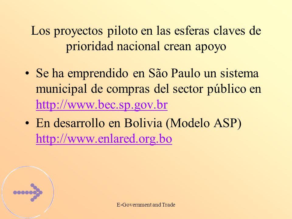 E-Government and Trade Los proyectos piloto en las esferas claves de prioridad nacional crean apoyo Se ha emprendido en São Paulo un sistema municipal de compras del sector público en http://www.bec.sp.gov.br http://www.bec.sp.gov.br En desarrollo en Bolivia (Modelo ASP) http://www.enlared.org.bo http://www.enlared.org.bo