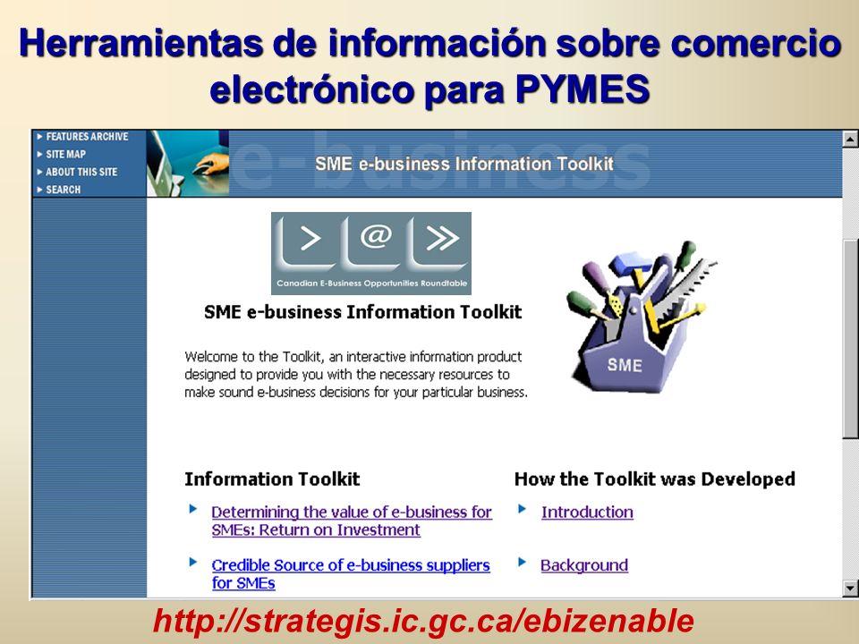 http://strategis.ic.gc.ca/ebizenable Herramientas de información sobre comercio electrónico para PYMES