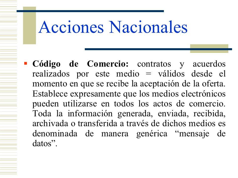 Acciones Nacionales Código de Comercio: contratos y acuerdos realizados por este medio = válidos desde el momento en que se recibe la aceptación de la