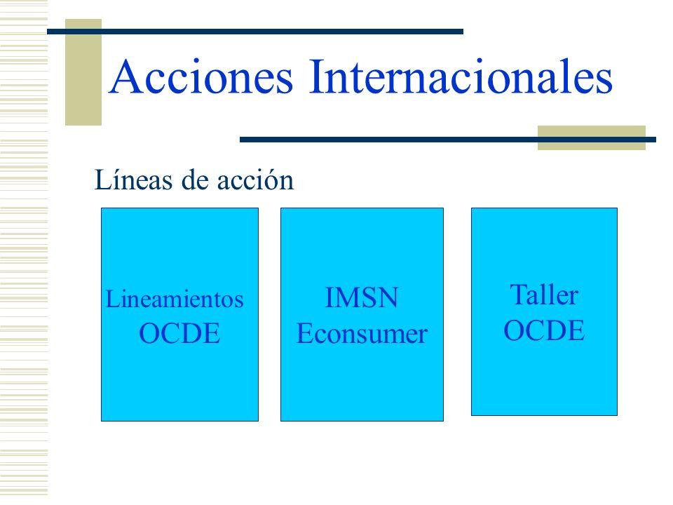 Acciones Internacionales Líneas de acción Lineamientos OCDE IMSN Econsumer Taller OCDE