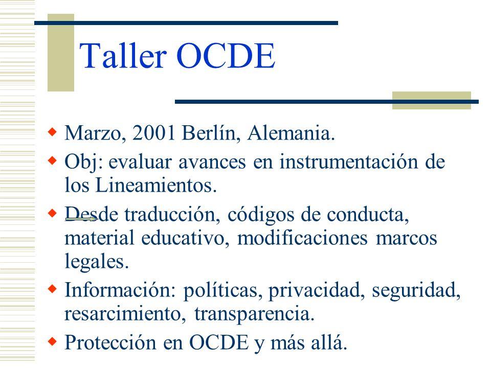 Taller OCDE Marzo, 2001 Berlín, Alemania. Obj: evaluar avances en instrumentación de los Lineamientos. Desde traducción, códigos de conducta, material