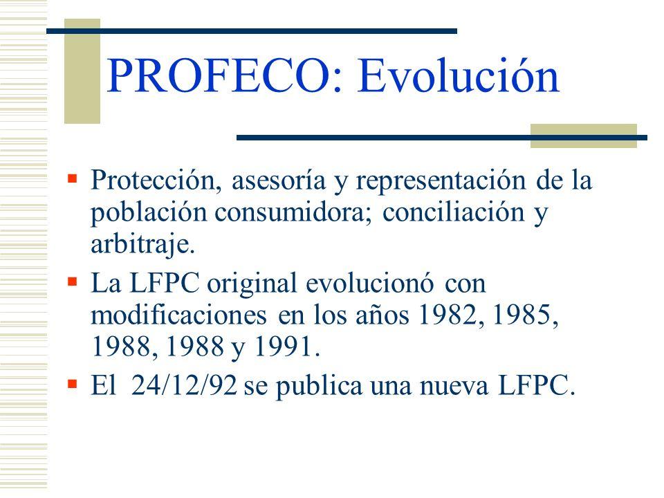 PROFECO: Evolución Protección, asesoría y representación de la población consumidora; conciliación y arbitraje. La LFPC original evolucionó con modifi