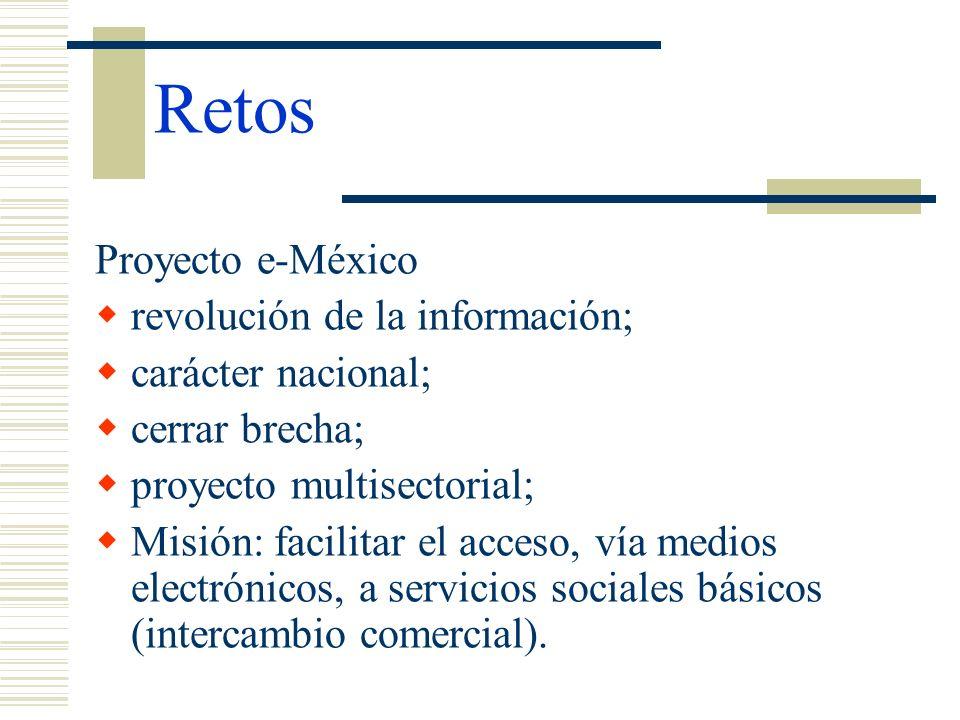 Retos Proyecto e-México revolución de la información; carácter nacional; cerrar brecha; proyecto multisectorial; Misión: facilitar el acceso, vía medi