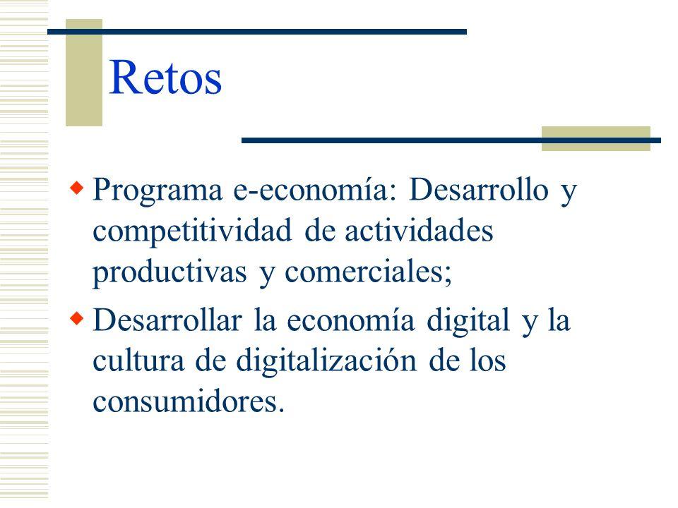 Retos Programa e-economía: Desarrollo y competitividad de actividades productivas y comerciales; Desarrollar la economía digital y la cultura de digit