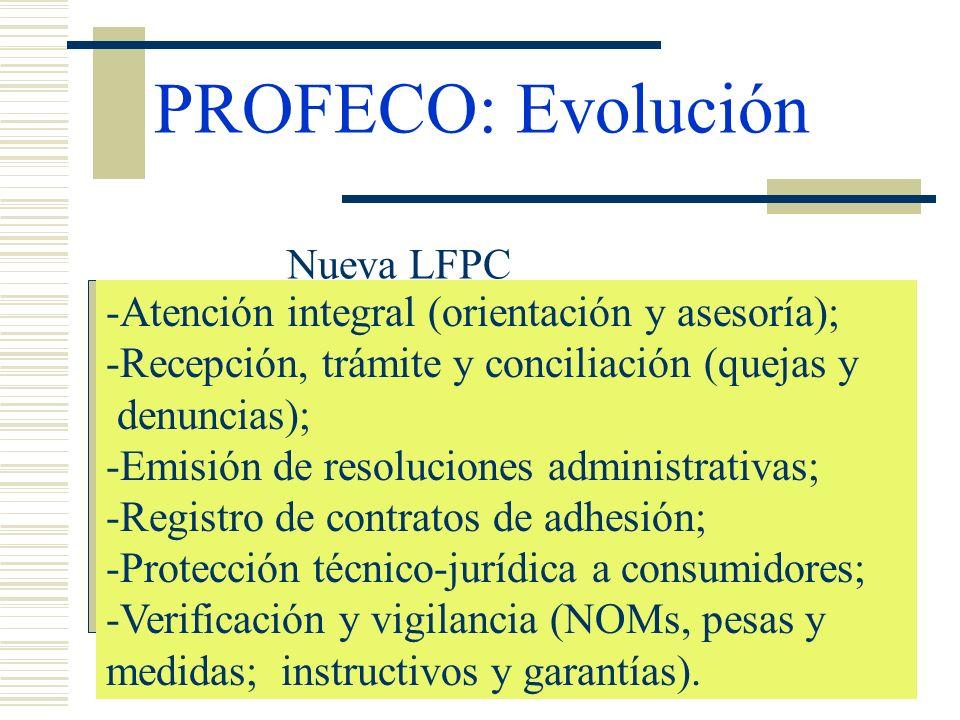 PROFECO: Evolución Nueva LFPC -Atención integral (orientación y asesoría); -Recepción, trámite y conciliación (quejas y denuncias); -Emisión de resolu