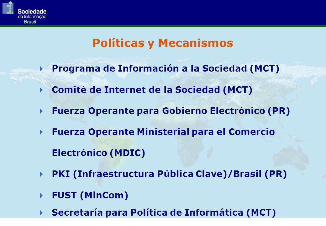 Programa de Información a la Sociedad (MCT) Comité de Internet de la Sociedad (MCT) Fuerza Operante para Gobierno Electrónico (PR) Fuerza Operante Ministerial para el Comercio Electrónico (MDIC) PKI (Infraestructura Pública Clave)/Brasil (PR) FUST (MinCom) Secretaría para Política de Informática (MCT) Políticas y Mecanismos