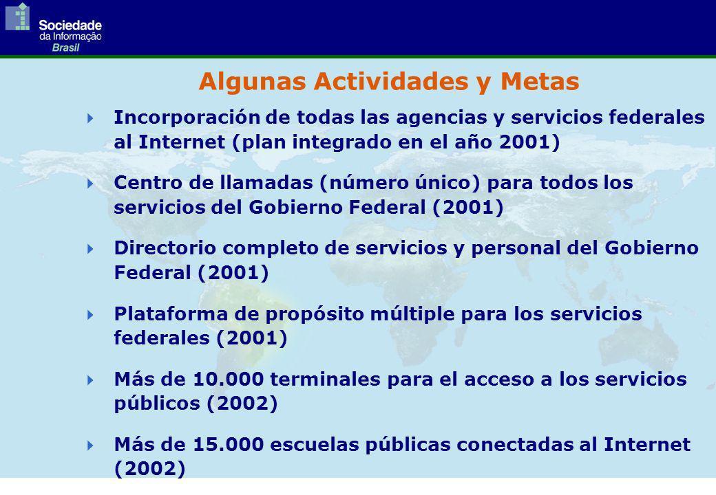Incorporación de todas las agencias y servicios federales al Internet (plan integrado en el año 2001) Centro de llamadas (número único) para todos los servicios del Gobierno Federal (2001) Directorio completo de servicios y personal del Gobierno Federal (2001) Plataforma de propósito múltiple para los servicios federales (2001) Más de 10.000 terminales para el acceso a los servicios públicos (2002) Más de 15.000 escuelas públicas conectadas al Internet (2002) Algunas Actividades y Metas
