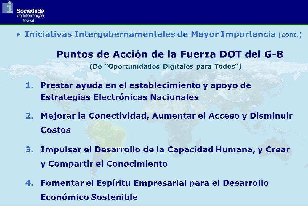 Puntos de Acción de la Fuerza DOT del G-8 Iniciativas Intergubernamentales de Mayor Importancia (cont.) (De Oportunidades Digitales para Todos) 1.Prestar ayuda en el establecimiento y apoyo de Estrategias Electrónicas Nacionales 2.Mejorar la Conectividad, Aumentar el Acceso y Disminuir Costos 3.Impulsar el Desarrollo de la Capacidad Humana, y Crear y Compartir el Conocimiento 4.Fomentar el Espíritu Empresarial para el Desarrollo Económico Sostenible