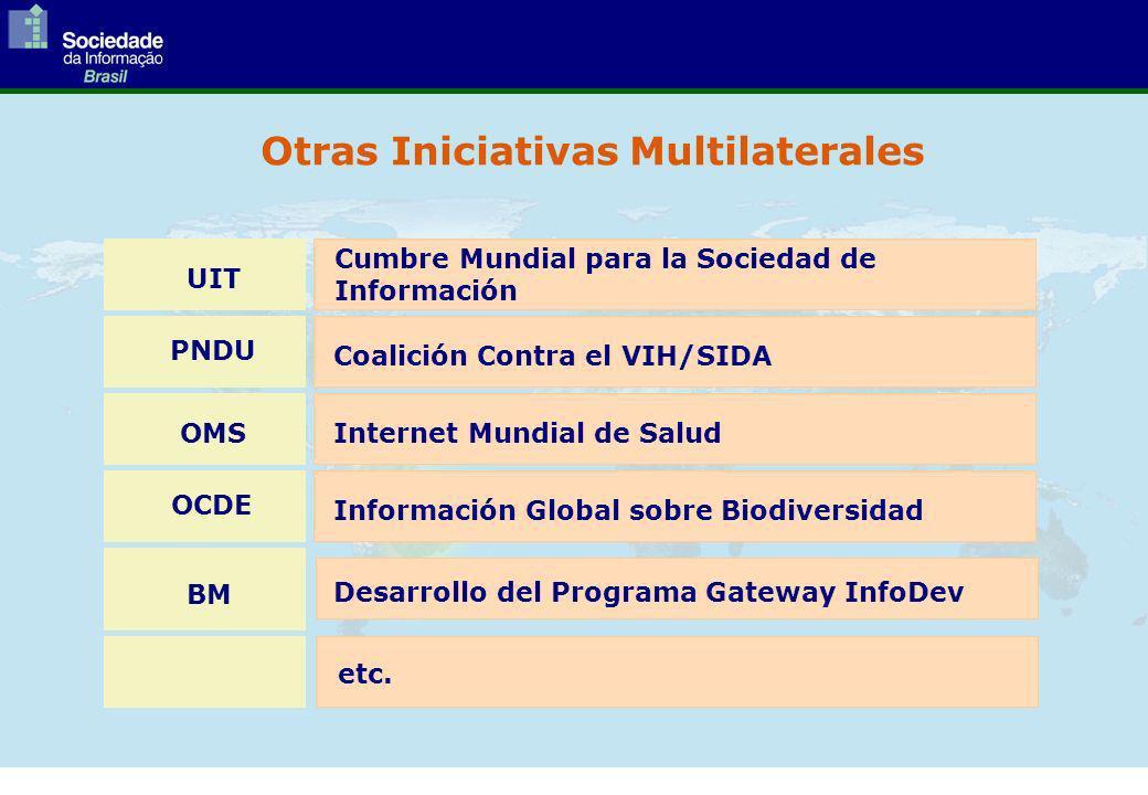 UIT PNDU OMS OCDE BM Cumbre Mundial para la Sociedad de Información Coalición Contra el VIH/SIDA Internet Mundial de Salud Información Global sobre Biodiversidad Desarrollo del Programa Gateway InfoDev etc.