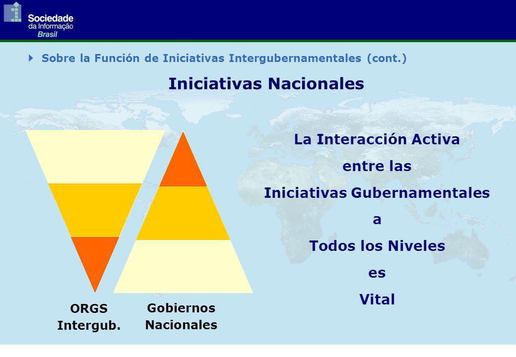 La Interacción Activa entre las Iniciativas Gubernamentales a Todos los Niveles es Vital ORGS Intergub.