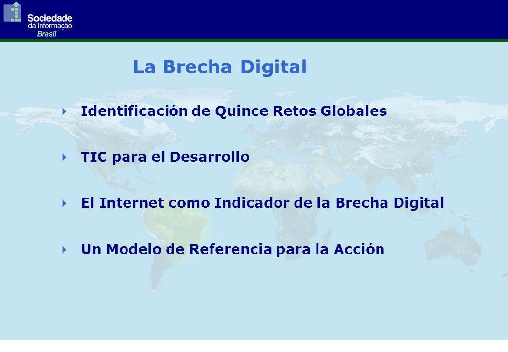 La Brecha Digital Identificación de Quince Retos Globales TIC para el Desarrollo El Internet como Indicador de la Brecha Digital Un Modelo de Referencia para la Acción