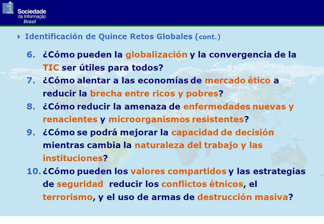 Identificación de Quince Retos Globales ( cont.) 6.¿Cómo pueden la globalización y la convergencia de la TIC ser útiles para todos.