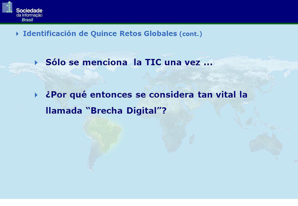 Identificación de Quince Retos Globales (cont.) Sólo se menciona la TIC una vez...
