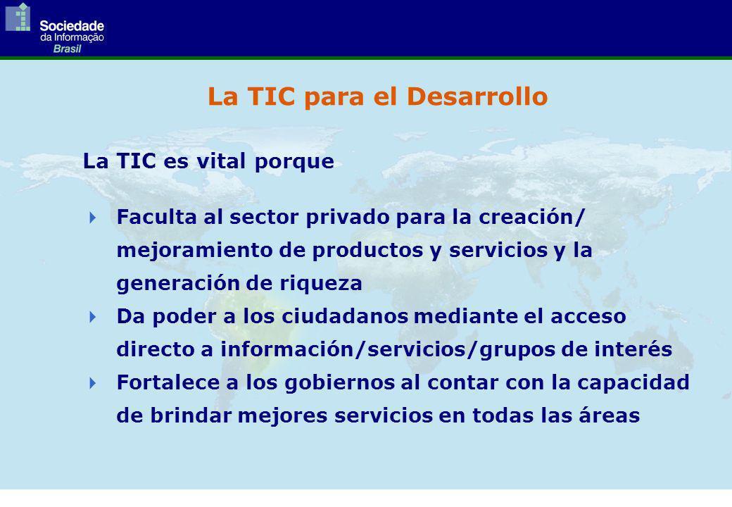 La TIC para el Desarrollo La TIC es vital porque Faculta al sector privado para la creación/ mejoramiento de productos y servicios y la generación de riqueza Da poder a los ciudadanos mediante el acceso directo a información/servicios/grupos de interés Fortalece a los gobiernos al contar con la capacidad de brindar mejores servicios en todas las áreas