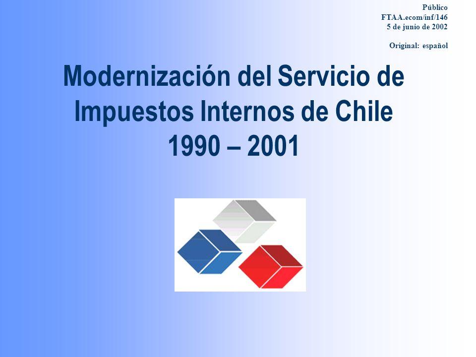 Modernización del Servicio de Impuestos Internos de Chile 1990 – 2001 Público FTAA.ecom/inf/146 5 de junio de 2002 Original: español