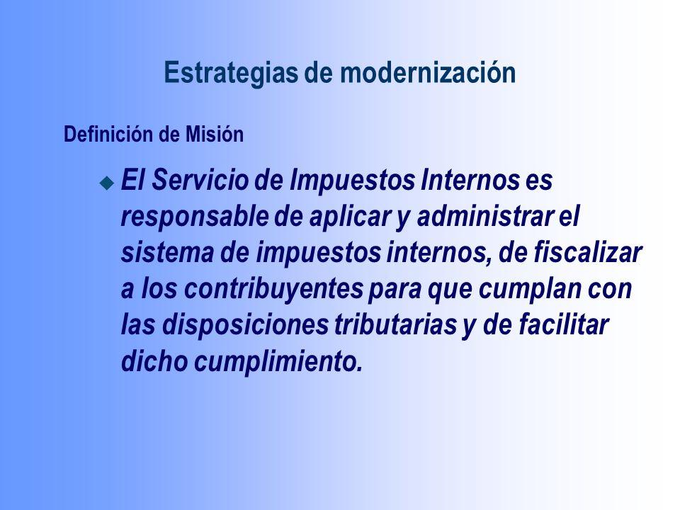 Definición de Misión u El Servicio de Impuestos Internos es responsable de aplicar y administrar el sistema de impuestos internos, de fiscalizar a los contribuyentes para que cumplan con las disposiciones tributarias y de facilitar dicho cumplimiento.