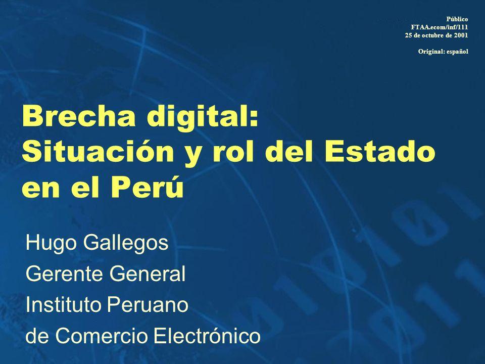 Brecha digital: Situación y rol del Estado en el Perú Hugo Gallegos Gerente General Instituto Peruano de Comercio Electrónico Público FTAA.ecom/inf/11