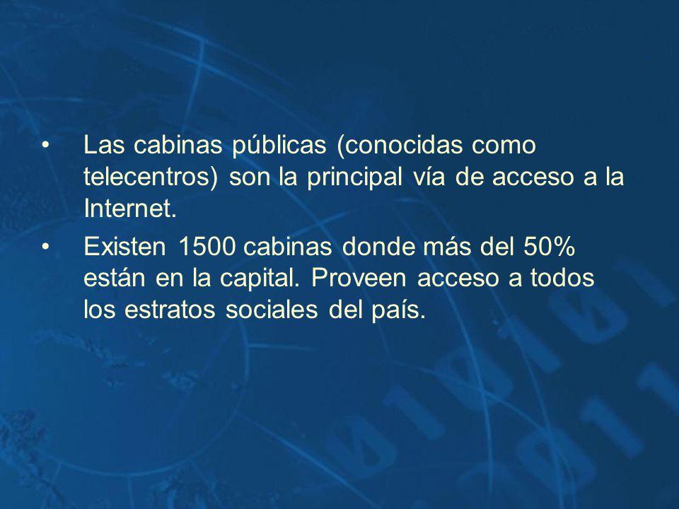 Las cabinas públicas (conocidas como telecentros) son la principal vía de acceso a la Internet. Existen 1500 cabinas donde más del 50% están en la cap