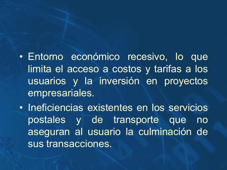 Entorno económico recesivo, lo que limita el acceso a costos y tarifas a los usuarios y la inversión en proyectos empresariales. Ineficiencias existen