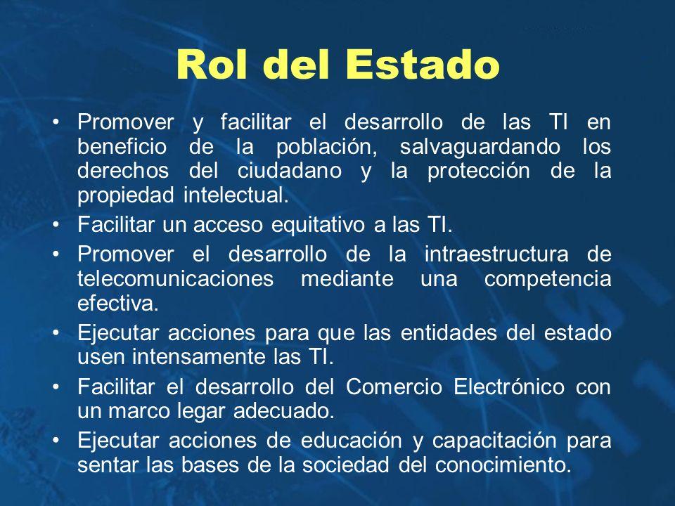 Rol del Estado Promover y facilitar el desarrollo de las TI en beneficio de la población, salvaguardando los derechos del ciudadano y la protección de