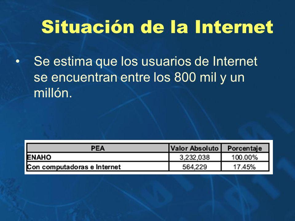 Situación de la Internet Se estima que los usuarios de Internet se encuentran entre los 800 mil y un millón.