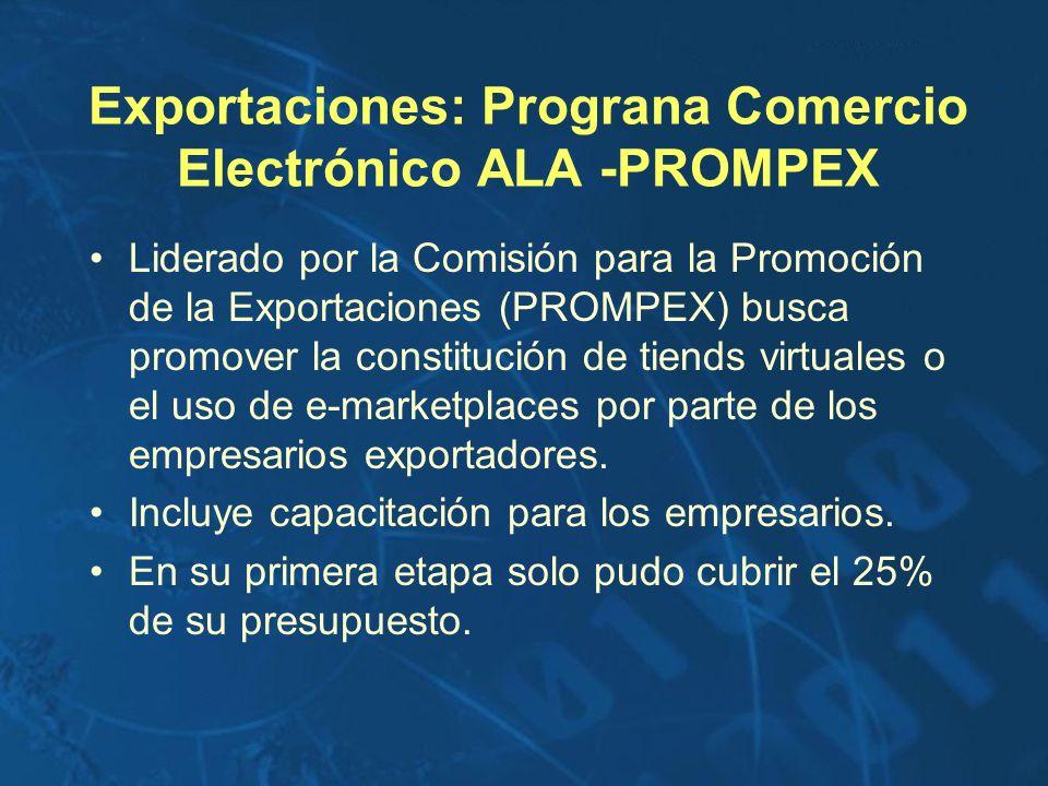 Exportaciones: Prograna Comercio Electrónico ALA -PROMPEX Liderado por la Comisión para la Promoción de la Exportaciones (PROMPEX) busca promover la c