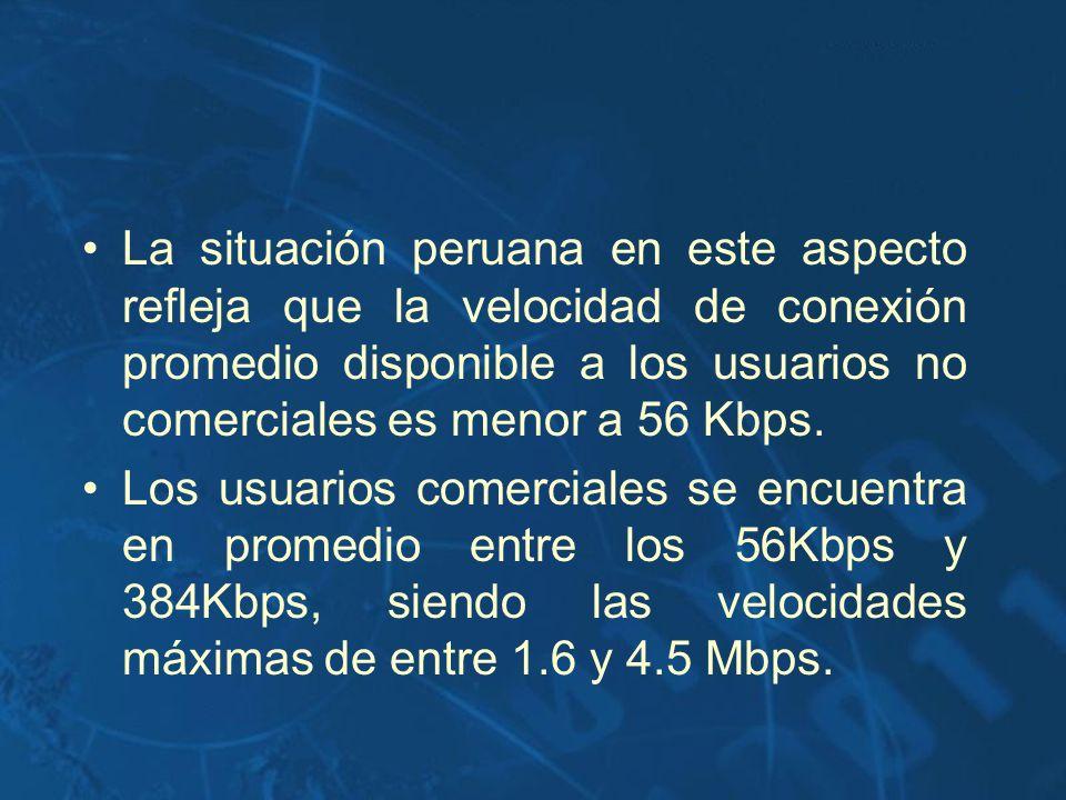 La situación peruana en este aspecto refleja que la velocidad de conexión promedio disponible a los usuarios no comerciales es menor a 56 Kbps. Los us