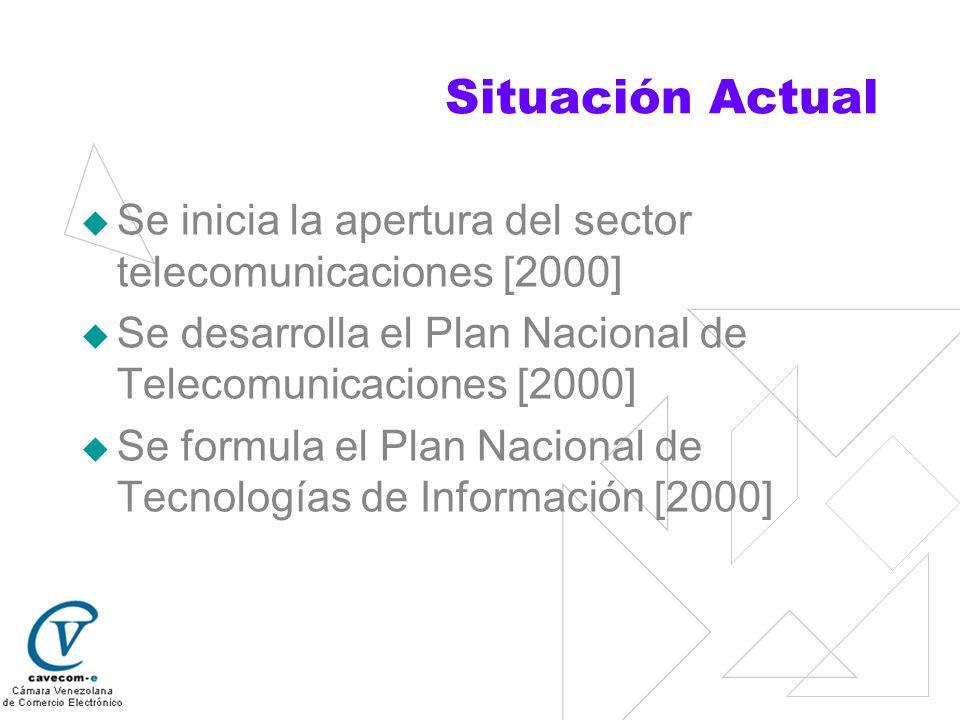 Situación Actual Se inicia la apertura del sector telecomunicaciones [2000] Se desarrolla el Plan Nacional de Telecomunicaciones [2000] Se formula el
