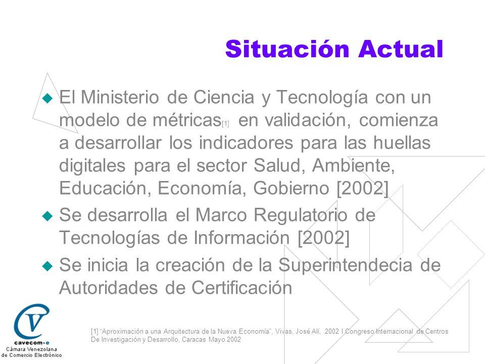 Situación Actual El Ministerio de Ciencia y Tecnología con un modelo de métricas [1] en validación, comienza a desarrollar los indicadores para las hu