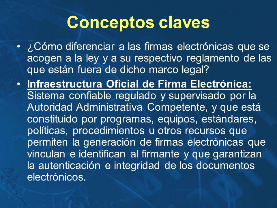 Conceptos claves ¿Cómo diferenciar a las firmas electrónicas que se acogen a la ley y a su respectivo reglamento de las que están fuera de dicho marco