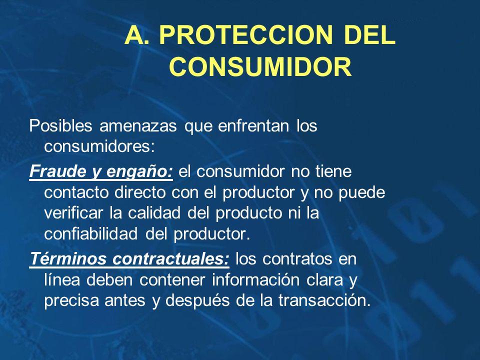 A. PROTECCION DEL CONSUMIDOR Posibles amenazas que enfrentan los consumidores: Fraude y engaño: el consumidor no tiene contacto directo con el product