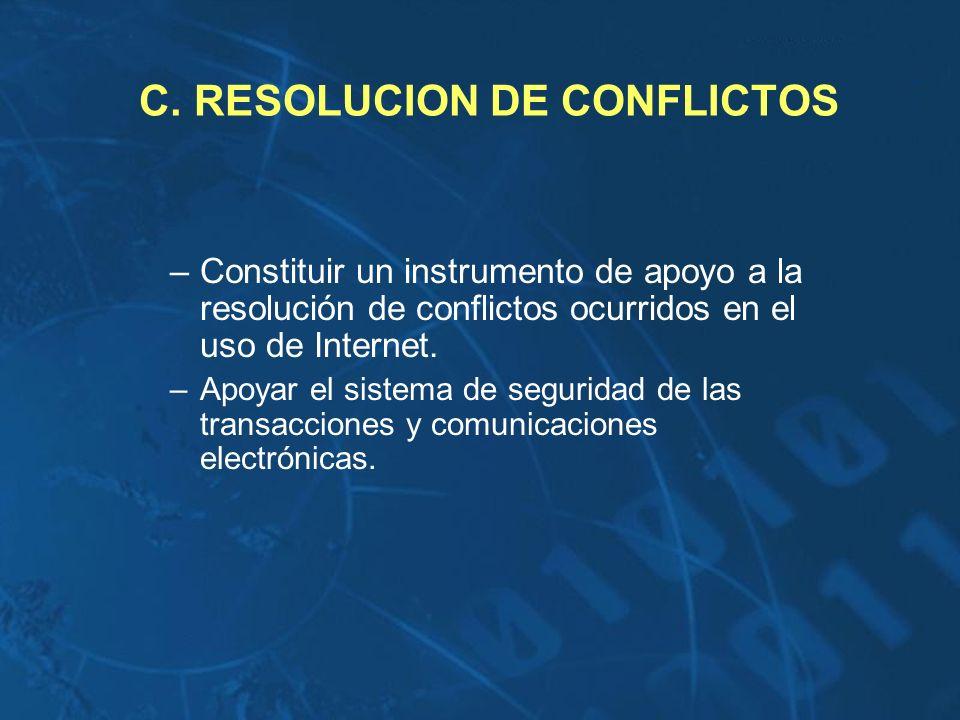 C. RESOLUCION DE CONFLICTOS –Constituir un instrumento de apoyo a la resolución de conflictos ocurridos en el uso de Internet. –Apoyar el sistema de s