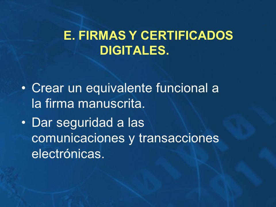 E. FIRMAS Y CERTIFICADOS DIGITALES. Crear un equivalente funcional a la firma manuscrita. Dar seguridad a las comunicaciones y transacciones electróni