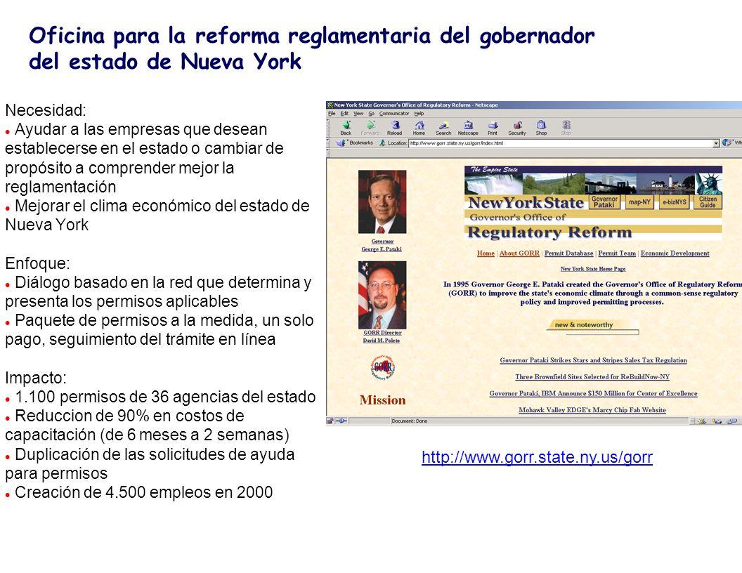 http://www.tradenet.gov.sg/info.html Bancos y seguros Compu- tadora Host Local IBM 3090-400 TRADENET Servicios de red de Singapur Internacional AUTORIDADES PORTUARIAS ADUANAS TDB COMERCIANTES Líneas de marcaje o arrenda- das Necesidad: l Facilitar el comercio, dar a Singapur una ventaja competitiva en el escenario comercial internacional Enfoque: l Aprovechar los factores críticos para el éxito: l Infraestructura de telecomunicaciones l Automatización de agencias de aduanas y comercio, puertos y aeropuertos l Acuerdo de todos para agilizar el comercio y adopción del sistema por las empresas comerciales l Sistema confiable comprobado y buen manejo del proyecto l La voluntad del gobierno para lograrlo Impacto: l Contribuye a facilitar el comercio l Contribuye a la reputación de Singapur como uno de los principales ejemplos de prácticas e implementación del gobierno electrónico Singapur TradeNet