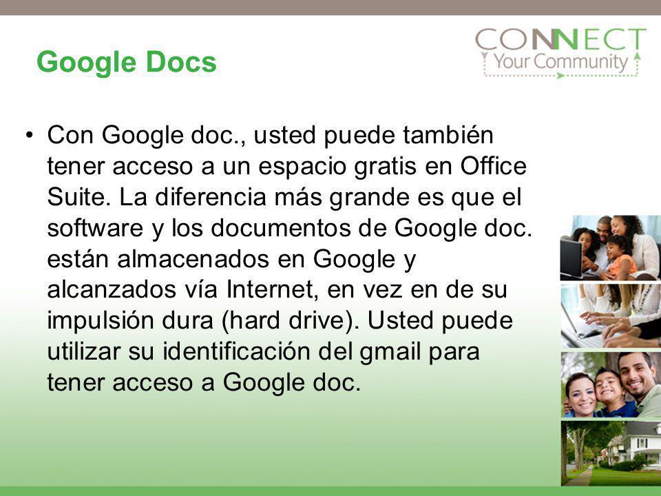 Google Docs Con Google doc., usted puede también tener acceso a un espacio gratis en Office Suite. La diferencia más grande es que el software y los d