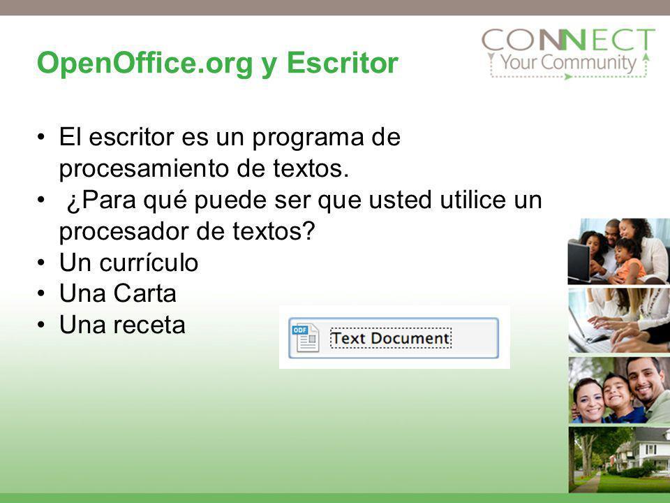 OpenOffice.org y Escritor El escritor es un programa de procesamiento de textos. ¿Para qué puede ser que usted utilice un procesador de textos? Un cur