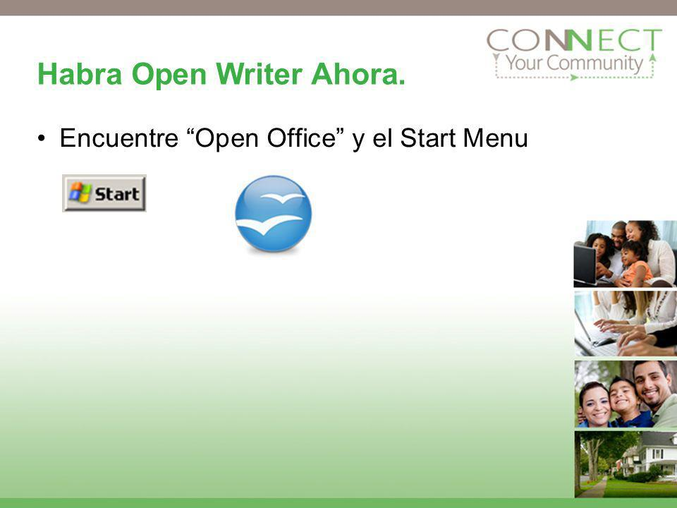 Habra Open Writer Ahora. Encuentre Open Office y el Start Menu