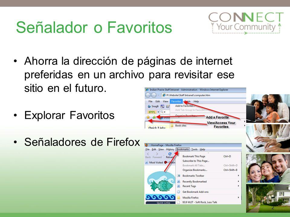 2 Señalador o Favoritos Ahorra la dirección de páginas de internet preferidas en un archivo para revisitar ese sitio en el futuro.