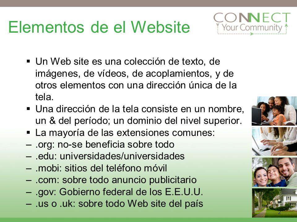 2 Elementos de el Website Un Web site es una colección de texto, de imágenes, de vídeos, de acoplamientos, y de otros elementos con una dirección única de la tela.