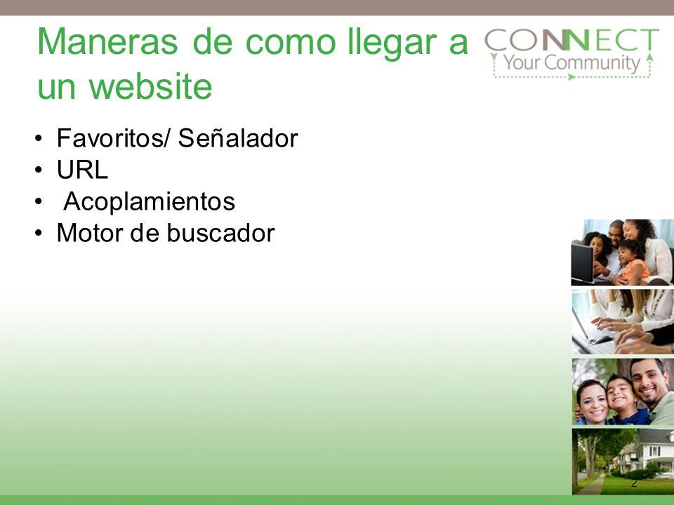 2 Maneras de como llegar a un website Favoritos/ Señalador URL Acoplamientos Motor de buscador