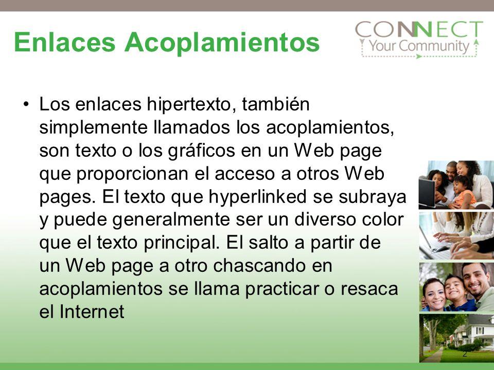 2 Enlaces Acoplamientos Los enlaces hipertexto, también simplemente llamados los acoplamientos, son texto o los gráficos en un Web page que proporcionan el acceso a otros Web pages.
