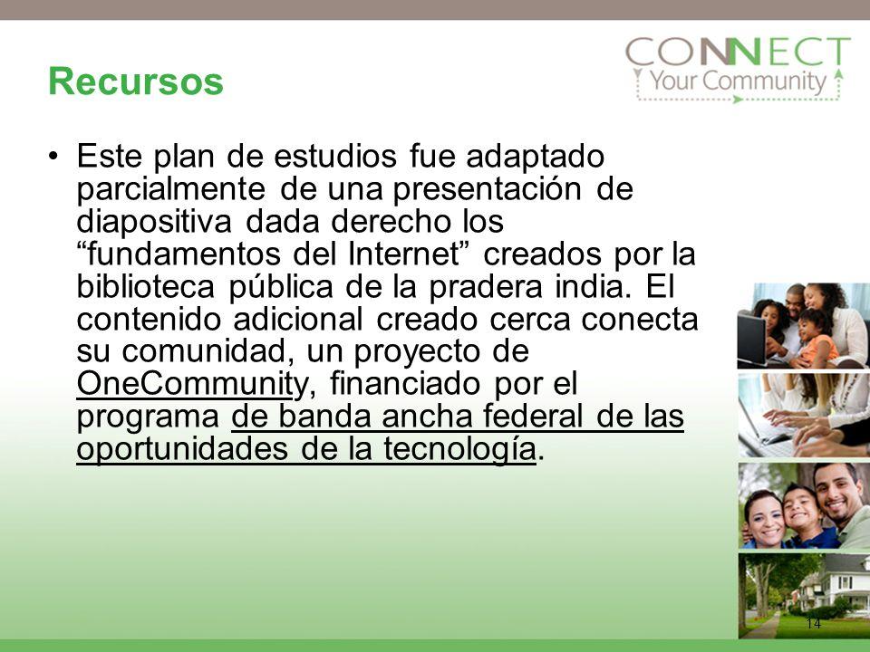 14 Recursos Este plan de estudios fue adaptado parcialmente de una presentación de diapositiva dada derecho los fundamentos del Internet creados por la biblioteca pública de la pradera india.