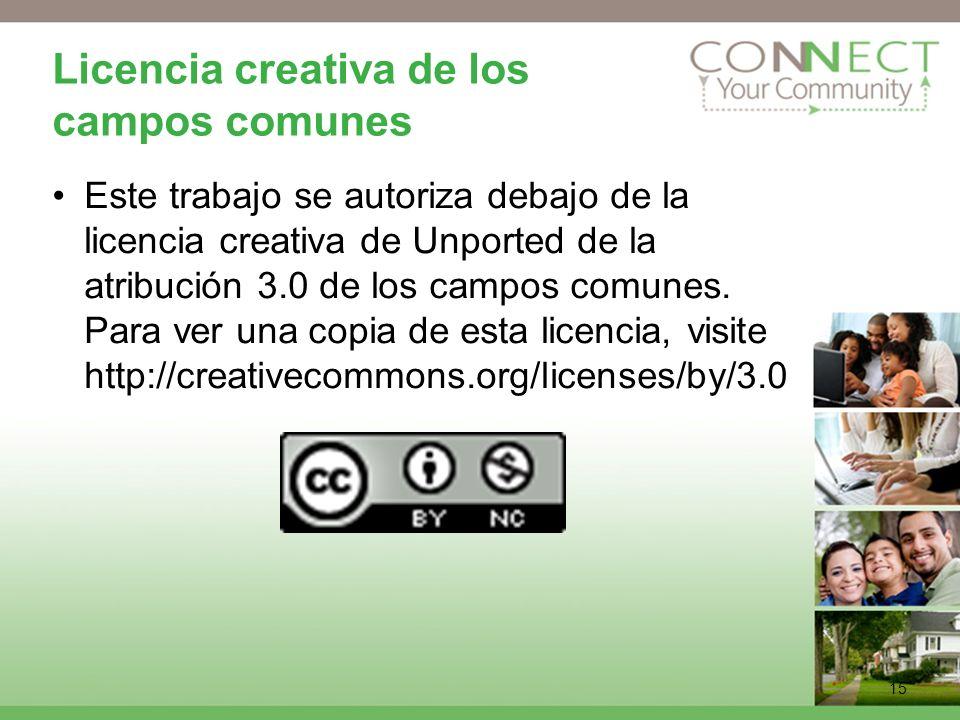 15 Licencia creativa de los campos comunes Este trabajo se autoriza debajo de la licencia creativa de Unported de la atribución 3.0 de los campos comunes.